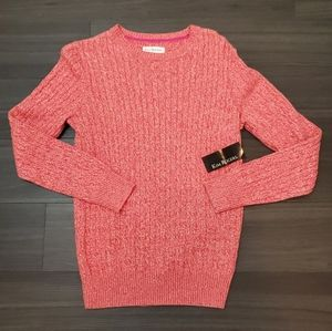 Kim Rogers Casual Cable Knit Fusichia Pink Sweater